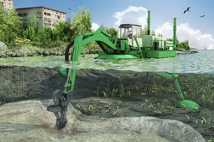 Watermaster dredging a river