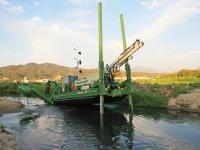 Amphibious Watermaster dredger can move and work in places that are unreachable for conventional dredgers