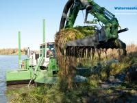 Watermaster Improving the ecological condition of a river by Clearing invasive aquatic weeds, Finland